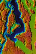 Chromadepth View of S. Sound Bathymetry