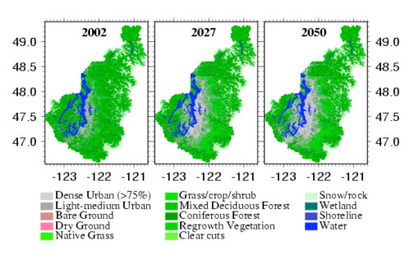 Fig 4 - 2002, projected 2027 and projected 2050 land cover maps